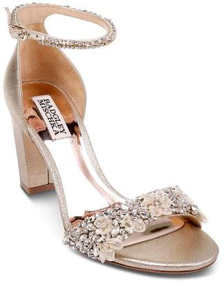 Badgley Mischka Women's Finesse II Embellished Block Heel Sandals
