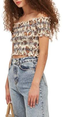 Topshop Trailing Flower Off the Shoulder Top