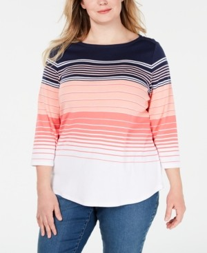 Charter Club Plus Size Multi-Striped Cotton Top, Created for Macy's
