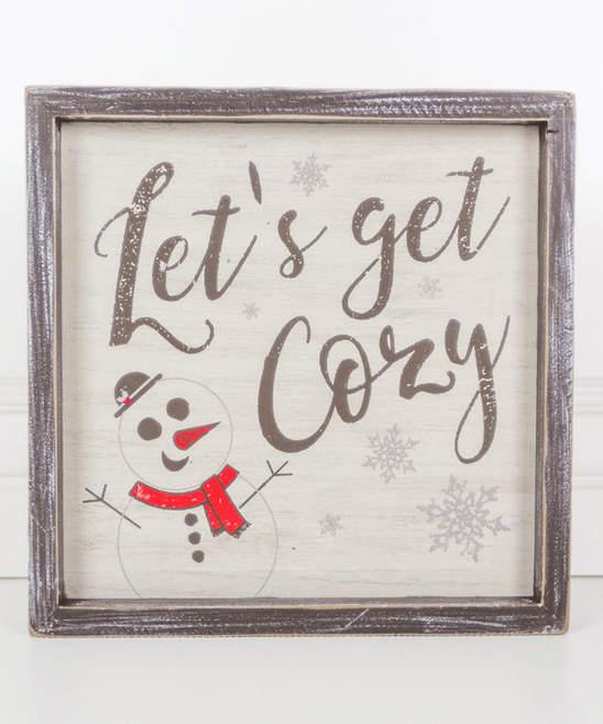 'Let's Get Cozy' Framed Wood Wall Sign
