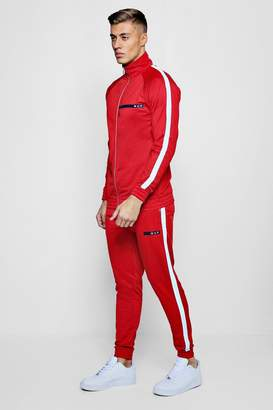 boohoo MAN Sport Tricot Tracksuit With Piping