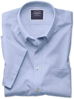 Charles Tyrwhitt Slim Fit Sky Blue Washed Oxford Short Sleeve Cotton Casual Shirt Single Cuff Size Small