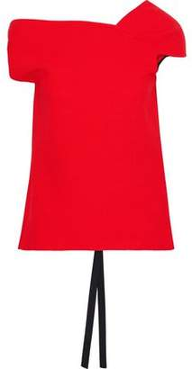 Roland Mouret Raywell Asymmetric Draped Wool-crepe Top