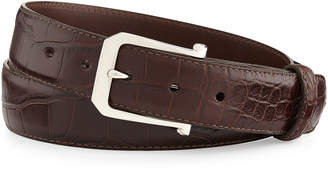 "W.KLEINBERG W. Kleinberg Matte Alligator Belt with ""The Paisley"" Buckle, Chocolate (Made to Order)"