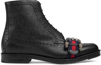 Gucci Leather brogue boot with Web