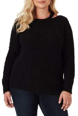 Jessica Simpson Plus Crocheted Sweater With Neck Cut-Out