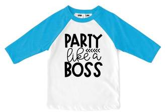 "Sprinkles And Jam ""Party Like a Boss"" 1st Birthday Boy Shirt Raglan Birthday Outfit Blue Sleeves"