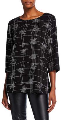Caroline Rose Plus Size Glitteratti 3/4-Sleeve Easy Tunic