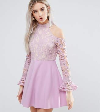 Missguided Petite Cold Shoulder Lace Skater Dress