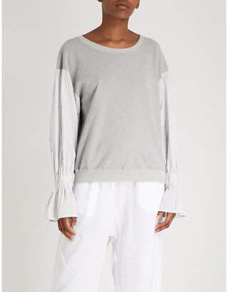 Stateside Striped-sleeve cotton-jersey sweatshirt