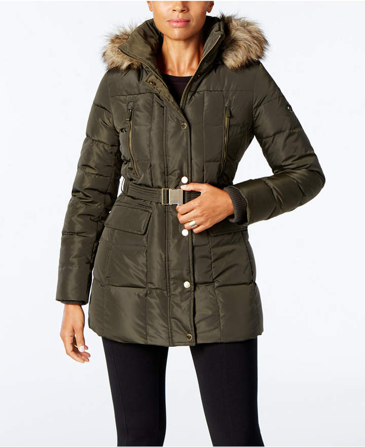 MICHAEL Michael Kors Faux-Fur-Trim Belted Down Puffer Coat, A Macy's Exclusive