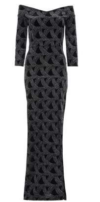 Quiz Black Velvet Glitter Bardot Maxi Dress
