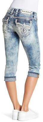 Rock Revival Studded Sequin Capri Jeans