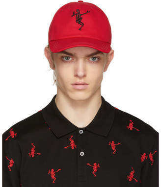 Alexander McQueen Red Dancing Skeleton Cap