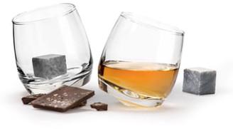 Sagaform Set of 2 Rocking Whiskey Tumblers & Drink Stones
