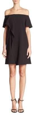 Halston Cold-Shoulder Asymmetrical Drape Dress