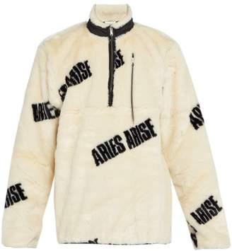 Aries - Faux Fur Half Zip Logo Print Jacket - Mens - White