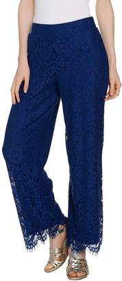 Isaac Mizrahi Live! Petite Floral Lace Wide Leg Pull-On Pants