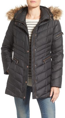 Women's Marc New York By Andrew Marc Quilted Down Jacket With Faux Fur Trim $230 thestylecure.com