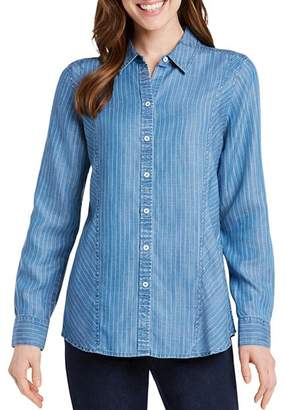Foxcroft Riley Pinstriped Chambray Top