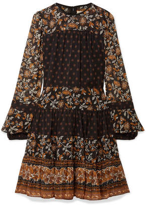 MICHAEL Michael Kors Metallic Floral-print Georgette Mini Dress - Black