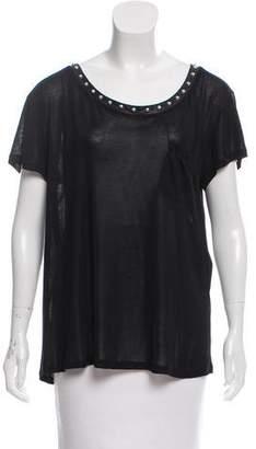 Saint Laurent Leather-Trimmed Silk Top