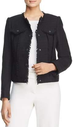 Karl Lagerfeld Paris Frayed Tweed Snap Front Jacket