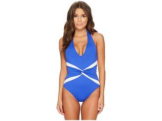 Lauren Ralph Lauren Beach Club Plunge Twist Halter One-Piece Shaping Fit w/ Removable Cups