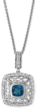 Effy London Blue Topaz (1-1/4 ct. t.w.) and White Sapphire (1/2 ct. t.w.) Pendant Necklace in Sterling Silver