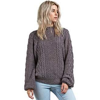 Volcom Junior's Hellooo Soft Fuzzy Pullover Crew Neck Sweater