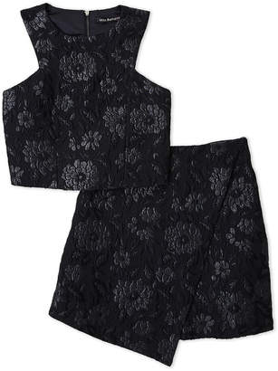 Miss Behave (Girls 7-16) Two-Piece Floral Jacquard Top & Skirt Set