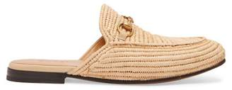 Gucci - King Woven Straw Backless Loafers - Mens - Light Brown