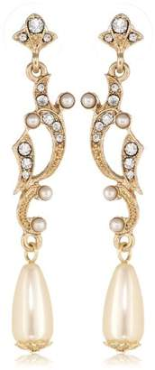 "Downton Abbey ""Boxed"" Gold-Tone Simulated Pearl and Crystal Drop Earrings"