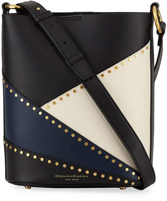 0e6b5b385a Donna Karan Adan Studded Patchwork Leather Bucket Bag