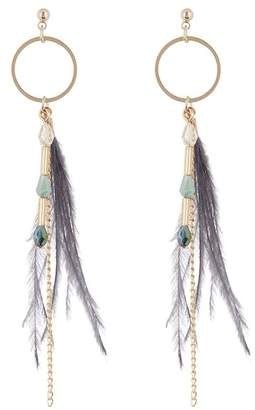 Panacea Feather Chain Drop Earrings