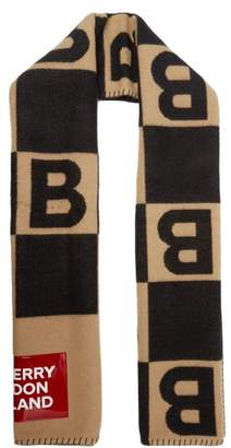 Burberry Vinyl Plaque Monogram Check Merino Blend Scarf - Mens - Beige
