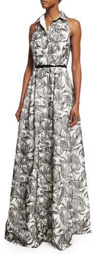 Carmen Marc ValvoCarmen Marc Valvo Sleeveless Printed Shirtdress Gown, Ivory/Black