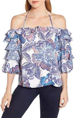 1 STATE 1.STATE Crystal Flowers Print Off the Shoulder Top