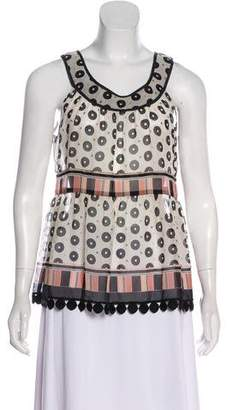 Anna Sui Asymmetrical Sleeveless Top