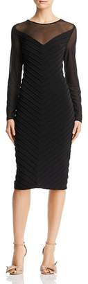 Adrianna Papell Pintucked Illusion Dress