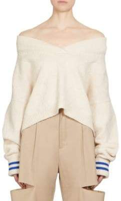 Maison Margiela Cashmere Off-The-Shoulder Knit Sweater