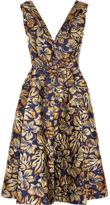 Prada - Floral-jacquard Midi Dress - Navy $3,420 thestylecure.com
