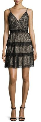 Alice + Olivia Olive Tiered Lace Mini Dress, Black/Brown $695 thestylecure.com