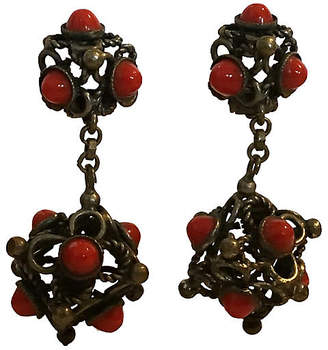 One Kings Lane Vintage Coral Glass Etruscan Earrings