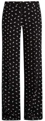 Miu Miu Cat Print Wide Leg Silk Trousers - Womens - Black Multi