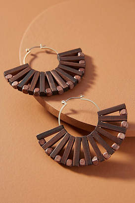 Anthropologie Demetria Wooden Fan Hoop Earrings