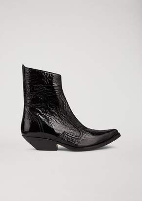 Emporio Armani Patent Naplak Leather Campero Boot