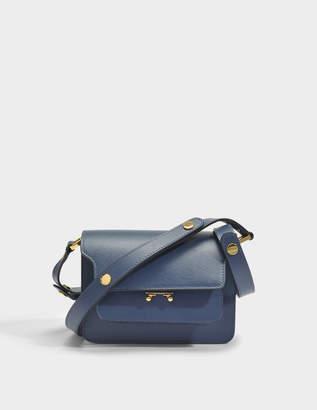 Marni Mini Trunk Bag in Orion Blue Saffiano Leather