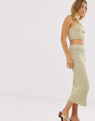 Asos Design DESIGN two-piece rib knit midi skirt