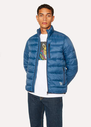 Paul Smith Men's Blue Quilted Jacket With Reflective Zebra Logo
